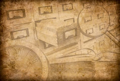 Archive, museum or library grunge background stock illustration