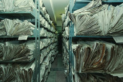 Archive. Old paper documents stacked in archive royalty free stock photos