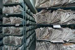 Archive. Old paper documents stacked in archive royalty free stock photo