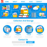 Archive Page Design. With collection and storage symbols flat vector illustration Stock Photo