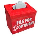 Archive para la propiedad intelectual Protec de la caja roja de la entrada 3d de Copyright Imagen de archivo libre de regalías