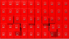 Archive red cabinets. 3D render Royalty Free Stock Photography
