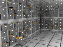 Archive room. Abstract 3d illustration of data storage room Royalty Free Stock Image