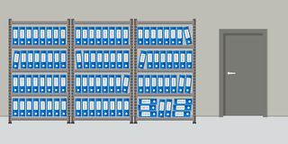 Archive. The room for storage of documents. Interior royalty free illustration