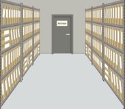 Archive. The room for storage of documents. Interior vector illustration