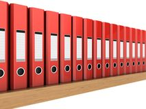 Archive on the shelf. 3d illustrations of the red ring binders in row on the wooden shelf Royalty Free Stock Image