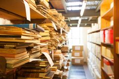 Archive storage, old documents  stored in the library. Archive storage, old documents and books stored in the library Royalty Free Stock Image
