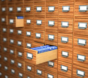 Archive of wooden boxes is closed and open. 3d illustration Stock Photo
