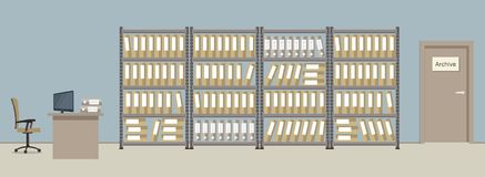 Archive. The workplace of the archivist vector illustration