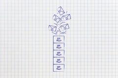 Archives avec des emails allant dedans ou, gestion de boîte aux lettres Photographie stock libre de droits