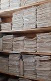 Archives de papier des documents Image stock