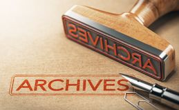 Archives, documents archivés Images stock