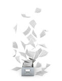 Archives and documents. Flying paper documents a metal box. Royalty Free Stock Images