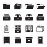 Archives, icônes de document réglées illustration de vecteur