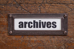 Archives  tag - file cabinet label Stock Images