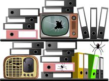 Archives Television Radio. Essential illustration describing forgotten items Royalty Free Stock Photo