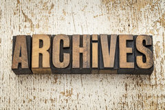 Archives word in wood type Stock Photography