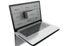 archivi 3d e cartelle in computer portatile illustrazione vettoriale