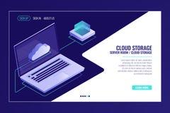 Archiviazione di dati a distanza, tecnologia di sistema nuvoloso, computer portatile aperto con l'icona della nuvola, vettore iso illustrazione vettoriale