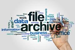 Archivieren Sie Archivwort-Wolkenkonzept auf grauem Hintergrund Stockfoto