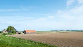 Archiviert mit Kartoffelkanten und einem Bauernhof im Frühjahr Lizenzfreie Stockfotografie