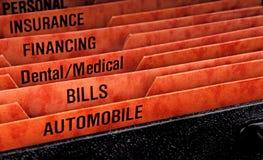 Archivierungsfaltblätter für Rechnungen Stockfoto
