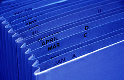 Archivio blu del preventivo di imposta fotografia stock libera da diritti