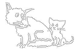 Archivio dell'illustrazione 12ss del modello 3mm del gatto del cane del cristallo di rocca ai o amici animali della casa dell'ani Immagini Stock