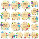 Disegno floreale rotondo delle etichette Fotografia Stock Libera da Diritti