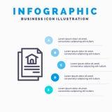 Archivio, documento, linea icona della Camera con il fondo di infographics di presentazione di 5 punti illustrazione vettoriale