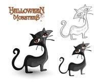Archivio posteriore spettrale dell'illustrazione EPS10 del gatto dei mostri di Halloween Fotografia Stock