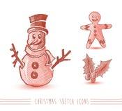 Archivio rosso della composizione EPS10 negli elementi di stile di schizzo di Buon Natale Fotografia Stock