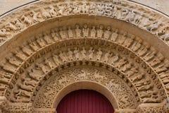 Archivoltes dans la porte du sud de l'église d'Aulnay de Saintonge Photos libres de droits