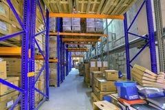 Archivos de registro del almacenamiento, cajas de expedientes almacenados en almacén Imágenes de archivo libres de regalías