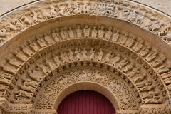 Archiwolty w Południowym drzwi Aulnay De Saintonge kościół Zdjęcia Royalty Free