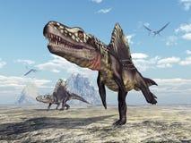 Archosaur Arizonasaurus και pterosaur Quetzalcoatlus απεικόνιση αποθεμάτων