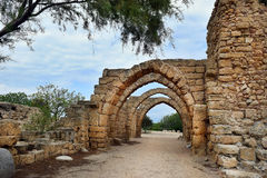 Archs in ancient city of Caesarea, Israel Stock Photos