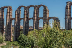 The archs of the aqueduct in Merida. Royalty Free Stock Images