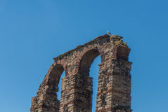 The archs of the aqueduct in Merida. Stock Photography