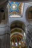 Ceiling of Almudena Cathedral in Madrid Stock Images