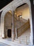 Archs and stairs of the palace. Avellaneda´s palace in Renaissance architecture style, Peñaranda de Duero, Burgos Stock Photo