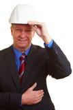 Archtect met witte helm royalty-vrije stock fotografie