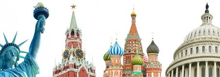Archtectural symbols of the USA and Russia Royalty Free Stock Photography