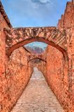 Archway between Amer and Jaigarh Fort in Jaipur - Rajasthan, India. Archway between Amer and Jaigarh Fort in Jaipur, Rajasthan State of India stock photography
