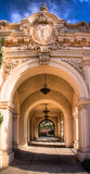 Archway in balboa park. Archway, extension of the MOMA museum at Balboa Park in San Diego stock photo