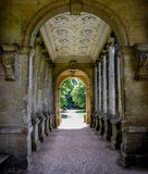 Archway Bridge At Stow School Grounds. An archway bridge at Stowe School Gardens showing beautiful architectural features and symmetry Stock Photo