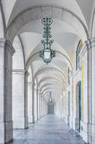 Archway. Classical architecture in a white marble archway with green lamps Royalty Free Stock Photography