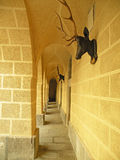 Archway with deer antlers. Chateau archway with deer antlers on the wall Royalty Free Stock Photos