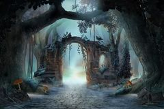 Archway in an enchanted fairy forest landscape, misty dark mood,. Can be used as background