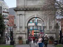 Archway at entrance to St. Stephen`s Green Park, memorial to soldiers of the Irish Fusiliers stock images